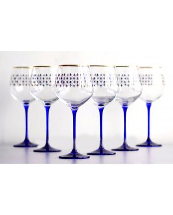 LOMONOSOV IMPERIAL GLASS WATER WINE COBALT NET SET 6 PC 570 ML/19.3 FL.OZ