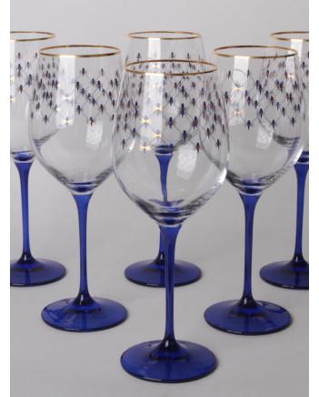 LOMONOSOV IMPERIAL GLASS WINE COBALT NET SET 6 PC 370 ML/12.5 FL.OZ