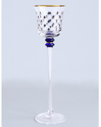 """LOMONOSOV IMPERIAL GLASS CANDLE STICK HOLDER COBALT NET 27 CM/10.6"""""""