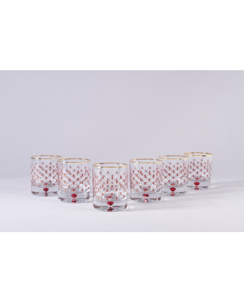 LOMONOSOV IMPERIAL GLASS LOWBALL WHISKEY WATER RED NET SET 6 PC 250 ML/8.5 FL.OZ