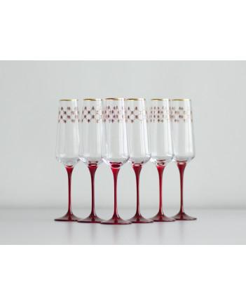 LOMONOSOV IMPERIAL GLASS CHAMPAGNE BUBBLY WINE RED NET SET 6 PC 200 ML/6.8 FL.OZ