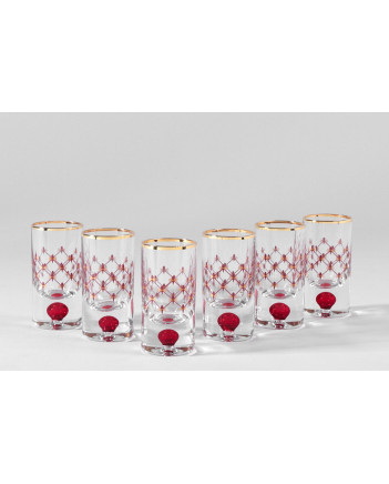 LOMONOSOV IMPERIAL GLASS VODKA SHOT RED NET SET 6 PC 30 ML/1 FL.OZ