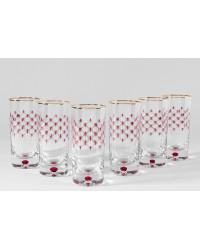 LOMONOSOV IMPERIAL GLASS HIGHBALL JUICE WATER RED NET SET 6 PC 300 ML/10.1 FL.OZ