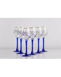 LOMONOSOV IMPERIAL GLASS VODKA GLASS COBALT NET SET 6 PC 60 ML/2 FL.OZ