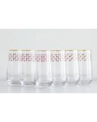 LOMONOSOV IMPERIAL GLASS HIGHBALL JUICE WATER RED NET SET 6 PC 480 ML/16.2 FL.OZ