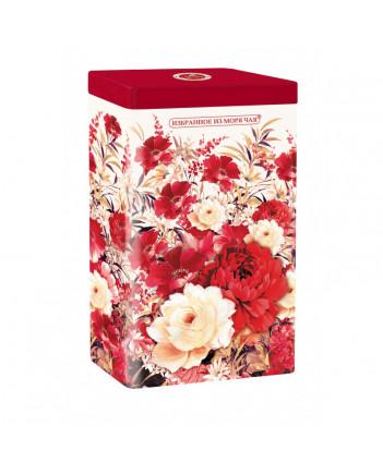 BLACK TEA IN METAL GIFT BOX ZHOSTOVO FLOWERS RED 75 GR 2.6 OZ