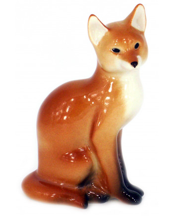 LOMONOSOV IMPERIAL PORCELAIN FIGURINE RED FOX SITTING