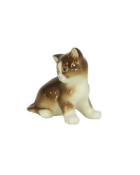 LOMONOSOV IMPERIAL PORCELAIN FIGURINE CAT BROWN KITTEN