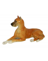 LOMONOSOV IMPERIAL PORCELAIN FIGURINE DOG GREAT DANE RED COLORED