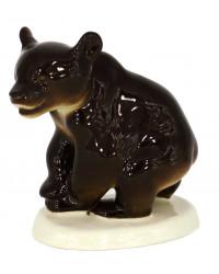 LOMONOSOV IMPERIAL PORCELAIN FIGURINE BROWN BEAR CUB SITTING