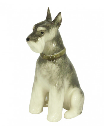 LOMONOSOV IMPERIAL PORCELAIN FIGURINE DOG MINIATURE SCHNAUZER SITTING
