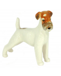 LOMONOSOV IMPERIAL PORCELAIN FIGURINE DOG FOX TERRIER COARSE-HAIRED