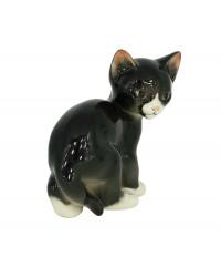 LOMONOSOV IMPERIAL PORCELAIN FIGURINE CAT BLACK KITTEN