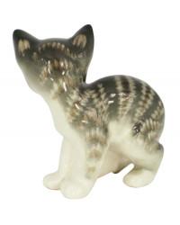 LOMONOSOV IMPERIAL PORCELAIN FIGURINE CAT GRAY KITTEN