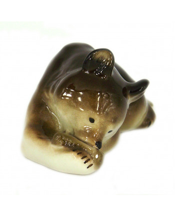 LOMONOSOV IMPERIAL PORCELAIN FIGURINE BROWN BEAR CUB WITH HONEY