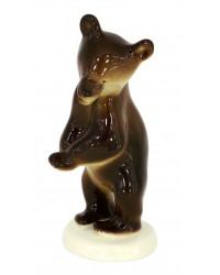 LOMONOSOV IMPERIAL PORCELAIN FIGURINE BROWN BEAR CUB DANCING