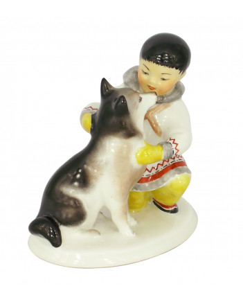 LOMONOSOV IMPERIAL PORCELAIN FIGURINE ESKIMO BOY WITH HUSKY DOG