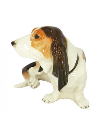 LOMONOSOV IMPERIAL PORCELAIN FIGURINE DOG BASSET HOUND