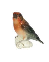LOMONOSOV IMPERIAL PORCELAIN FIGURINE BIRD CROSSBILL RED
