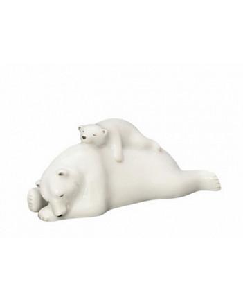 LOMONOSOV IMPERIAL PORCELAIN FIGURINE POLAR BEAR MOM WITH CUB SLEEPING