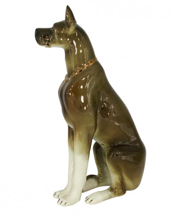 LOMONOSOV IMPERIAL PORCELAIN FIGURINE DOG GREAT DANE SITTING