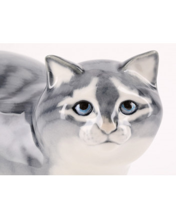 LOMONOSOV IMPERIAL PORCELAIN FIGURINE CAT GRAY HUNTING