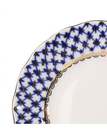 "LOMONOSOV IMPERIAL PORCELAIN DESSERT PLATE COBALT NET TULIP 15 cm 5.9"""