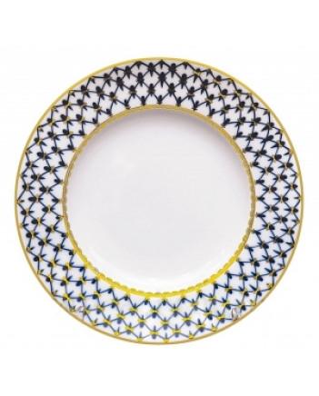 """LOMONOSOV IMPERIAL PORCELAIN DINNER PLATE COBALT NET 27 cm 10.6"""""""