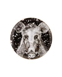 "LOMONOSOV IMPERIAL PORCELAIN DECORATIVE WALL PLATE TOTEM ANIMAL WILD BOAR 30 CM 11.8"""