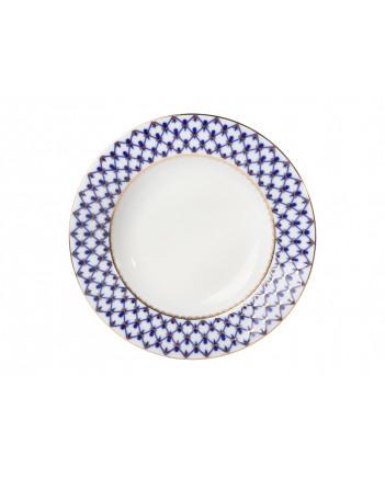 """LOMONOSOV IMPERIAL PORCELAIN DINNER PLATE COBALT NET DEEP 22.5 cm 8.9"""""""