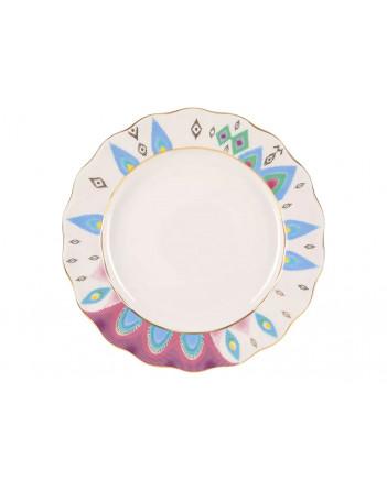 "LOMONOSOV IMPERIAL PORCELAIN DINNER PLATE PEACOCK FEATHER TULIP 27 cm/10.6"""