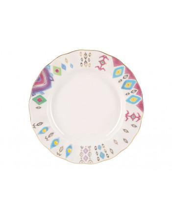 "LOMONOSOV IMPERIAL PORCELAIN DINNER PLATE PEACOCK FEATHER TULIP 24 cm/9.4"""