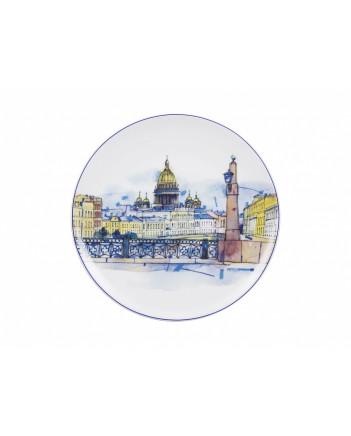 "LOMONOSOV IMPERIAL PORCELAIN DECORATIVE WALL PLATE KISS BRIDGE 195 mm 7.7"""