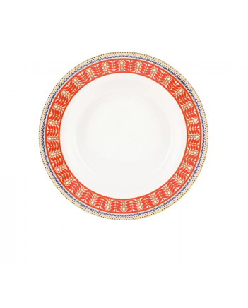 "LOMONOSOV IMPERIAL PORCELAIN DINNER PLATE RUSSIAN STYLE DEEP 22 cm 8.7"""