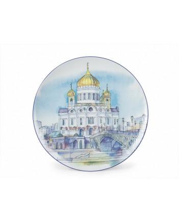 "LOMONOSOV IMPERIAL PORCELAIN DECORATIVE WALL PLATE MOSCOW CHRIST CHURCH 195 mm 7.7"""