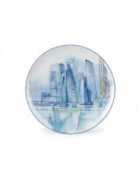 "LOMONOSOV IMPERIAL PORCELAIN DECORATIVE WALL PLATE MOSCOW CITY 195 mm 7.7"""