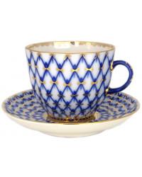 LOMONOSOV IMPERIAL PORCELAIN ESPRESSO COFFEE CUP AND SAUCER COBALT NET TULIP 140 ML/4.7 OZ