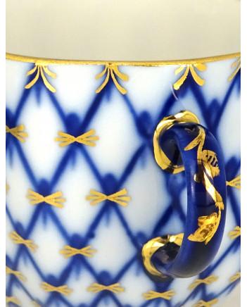 LOMONOSOV IMPERIAL PORCELAIN ESPRESSO COFFEE CUP, SAUCER AND PLATE TULIP COBALT NET140 ML/4.7 OZ