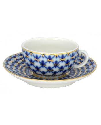 LOMONOSOV IMPERIAL PORCELAIN ESPRESSO COFFEE CUP AND SAUCER COBALT NET 50 ML/1.7 OZ
