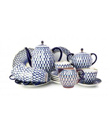 LOMONOSOV IMPERIAL PORCELAIN COFFEE SET SERVICE COBALT NET TULIP 22 items