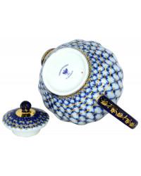 LOMONOSOV IMPERIAL PORCELAIN TEAPOT TULIP COBALT NET 3 CUPS 600 ML 20 oz