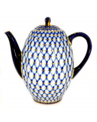 LOMONOSOV IMPERIAL PORCELAIN COFFEE POT COBALT NET TULIP 8 Cup 40 oz/1200 ml