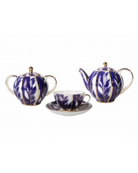 LOMONOSOV IMPERIAL PORCELAIN TEA SET SERVICE TULIP WINTER NIGHT 14 items