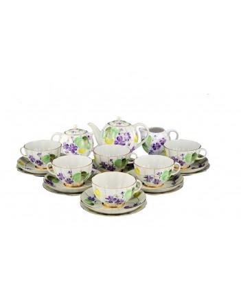 LOMONOSOV IMPERIAL PORCELAIN TEA SET SERVICE TULIP FOREST VIOLET 20 items