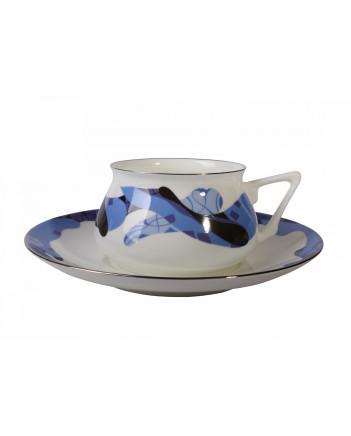 LOMONOSOV IMPERIAL BONE CHINA PORCELAIN ESPRESSO CUP BILIBINA-1 BLUE CARAMEL 180 ml 6.1 oz