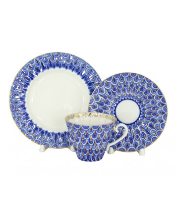 LOMONOSOV IMPERIAL PORCELAIN TEACUP, SAUCER AND PLATE FORGET ME NOT 235 ML/8 OZ