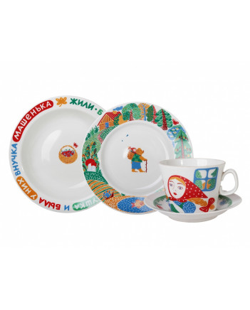 LOMONOSOV IMPERIAL PORCELAIN BABY SET 4PC: CUP, SAUCER, PLATE AND BOWL MASHA AND BEAR