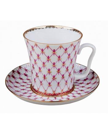 LOMONOSOV IMPERIAL PORCELAIN COFFEE LATTE HOT CHOCOLATE MUG RED NET 360 ml/12.2 fl.oz