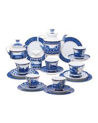LOMONOSOV IMPERIAL PORCELAIN TEA SET SERVICE BRIDGES OF PETERSBURG 20 items
