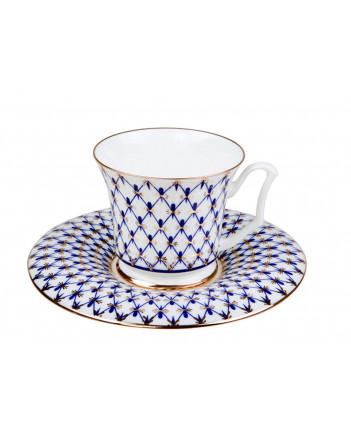 LOMONOSOV IMPERIAL BONE CHINA PORCELAIN COFFEE SET SERVICE COBALT NET YULIA 15 items